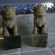 Antique Chinese Carved Marble Foo Lions, A Pair
