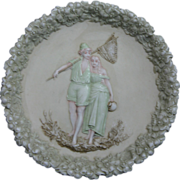 Rare Antique Polychrome Jasperware Plaque with European Couple