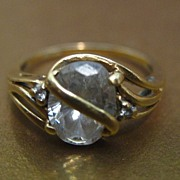 SALE Signed Vintage Swirled Yellow Gold 14K Ring with CZ