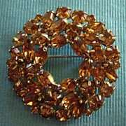 SALE Sparkling Golden Copper Tone Vintage Weiss Rhinestone Brooch