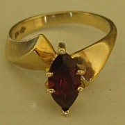 SALE Lovely Vintage Marquis Garnet and 10K Yellow Gold Ring- Size 6
