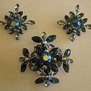 SALE Sparkling Vintage Aurora Borealis Blue Rhinestone Demi Parure- Large Brooch and Clip Earr