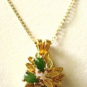 Lovely 12K Gold Filled Pendant and Chain with 3 Jade Stones