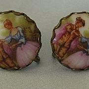 SALE Pretty Italian Fragonard Portrait Porcelain Screwback Earrings- 1930's
