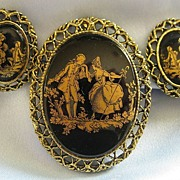 """SALE Pretty Vintage """"Courting Couple"""" Demi Parure- Brooch and Clip Earrings"""