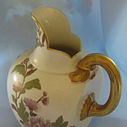 Beautiful Antique Royal Worcester Handpainted Floral Porcelain Pitcher with Gold Gilt- Circa .