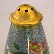 Lovely Vintage Cloisonne Pepper Shaker in Blue with Flowers