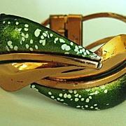 Lovely Vintage Renoir-Matisse Double Leaf Enamel and Copper Clamper Bracelet