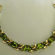 SALE Sparkling Vintage Green Rhinestone Bracelet from Japan