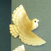 SALE Exquisite Vintage Mid Century Carved MOP Bird Earrings