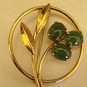 SALE Lovely Vintage Triple Prong Set Jade and 12K Yellow GF Brooch