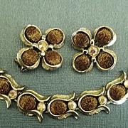 SALE Wonderful Vintage Gold Tone Fleck Brown Thermoset and AB Rhinestones Bracelet and Clip Ea