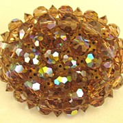 SALE Chunky Sparkling Vintage AB Amber Crystal Brooch