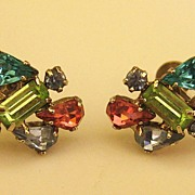 "SALE Beautiful Vintage Multi Color Rhinestone Earring ""Sparklers""- Screwback"