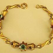 SALE Pretty Vintage Gold Filled Blue Rhinestone Flower Link Bracelet