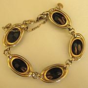 SALE Lovely Vintage Signed Gold Fluss Stripe Black Cabochon Link Bracelet