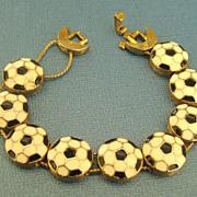 SALE Charming Vintage Enamel Soccer Ball Link Bracelet