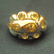 SALE Chunky Dramatic 8 Topaz Sterling Silver Ring- Size 7 3/4