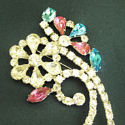 SALE Large Sparkling Vintage Pink, Blue and Clear Rhinestone Flower Brooch