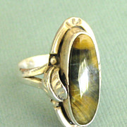 SALE Gorgeous Vintage Signed Agate Sterling Silver Ring- Size 6 3/4