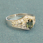 SALE Sparkling Vintage 14K White Gold Deep Blue Topaz and Cubic Zirconia Ring- Size 6 1/2