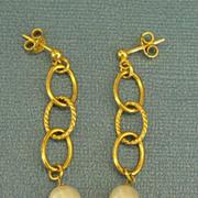 SALE Lovely 14K Yellow Gold Over Sterling Silver Freshwater Pearl Dangle Pierced Earrings