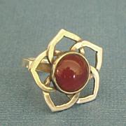 SALE Pretty Vintage Carnelian Sterling Silver Flower Ring- Size 5 1/2