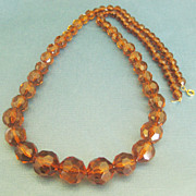 SALE Lovely Vintage Faceted Graduated Root Beer Lucite Bead Necklace-  28 Inches!