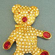 SALE Adorable Vintage Teddy Bear Rhinestone Brooch- Austria
