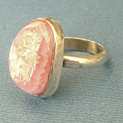 SALE Lovely Modernist Large Pink Rhodocrosite Sterling Silver Ring