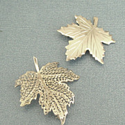 SALE Two Lovely Sterling Silver Leaf Brooches/Pins- Germany