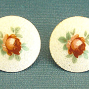 SALE Beautiful Vintage Large Guilloche Enamel Earrings with Roses