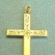 SALE Lovely Large Vintage Sterling Silver and Gold Plate Cross with Engraved Flowers