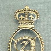 "SALE Pretty Regal Vintage Crown and ""A"" Rhinestone Silver Tone Pendant"