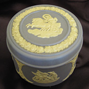 "SALE Lovely Vintage Wedgwood Jasper Ware ""Aurora in Her Chariot"" Covered Box- 1970's"