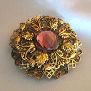 SALE Lovely Vintage Czech Faceted Amethyst Glass Filigree  Brooch