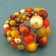 Festive Fall Tone Wide Graduated Bead Coil Bracelet