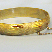 Lovely Vintage Sterling Silver Vermeil Hinged Bracelet with Safety Chain