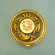 Elegant Vintage Damascene Box with Rose Medallion from Spain