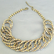 Stunning Chunky Thick AB Rhinestone Curved Open Links Silver Tone Necklace