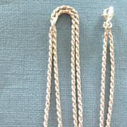 SALE Lovely Vintage 7 Rhodolite Garnet Cabochon Sterling Silver Pendant and Chain