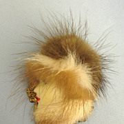 Pretty Vintage Female Profile Brooch with Natural Fur