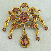 Sparkling Amethyst Glass Rhinestone Dangle Deep Gold Tone Brooch