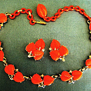 Fun Vintage Bright Orange Lucite Leaves Demi Parure- Necklace and Earrings