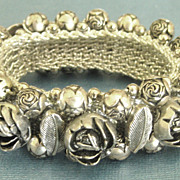 Lovely Vintage Chunky Silver Tone Cabbage Roses Expandable Bracelet