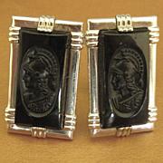 "SALE Handsome Vintage Carved Black Glass ""Roman Warrior"" Cuff Links"