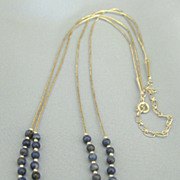 Lovely Liquid Sterling Silver Double Strand Necklace with Lapis Lazuli Beads