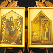 Beautiful Vintage Gold Gilt Framed  Italian Religious Prints