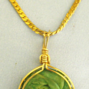 """Lovely Faux Jade Rose Floral Pendant with 30"""" Chain"""