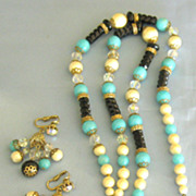 Flirty Vintage Beaded Tassel Demi Parure- Necklace and Dangle  Earrings